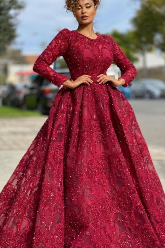 Luxury Jewel Long Sleeves Burgundy Tulle Lace Prom Dress with Beadings Online