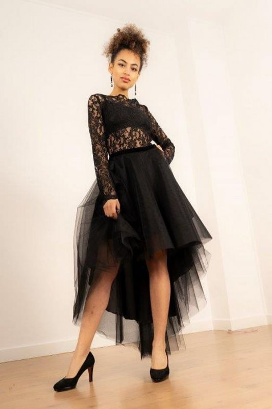 Hi-Lo Long Sleeves Lace Tulle Prom Dress Online