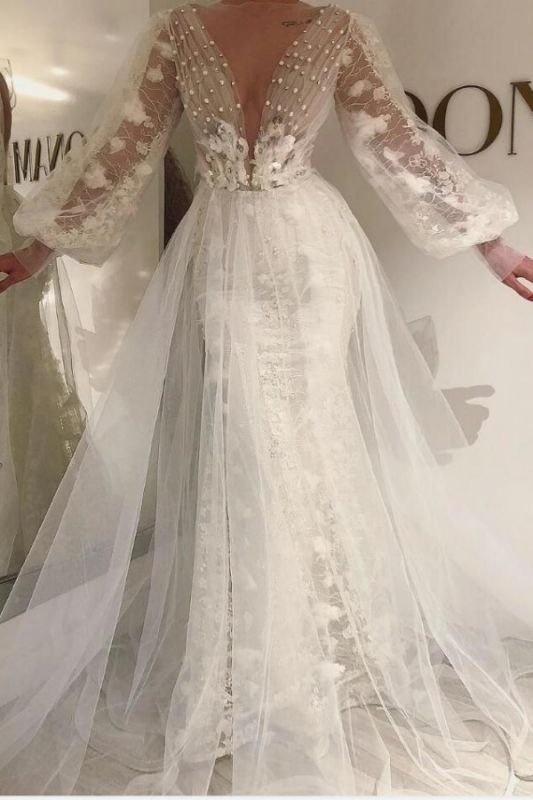 Long Sleeves Tulle Lace Prom Dress with Pearls Online