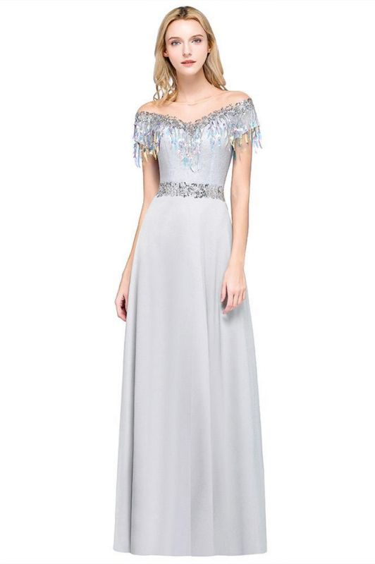 A-line Jewel Short Sleeves Sequins Evening Dress with Tassels in Stock