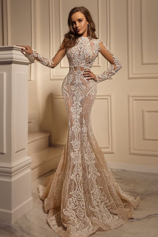 Sexy Mermaid Tulle Lace Long Sleeves Wedding Dress On Sale