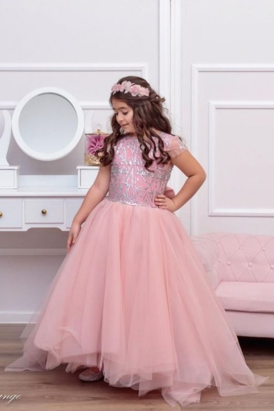 Cute Tulle Beadings Cap Sleeves Flower Girl Dress with Bow Online