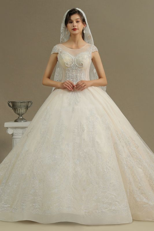 Gorgeous Short Sleeves Lace Wedding Dresses A-Line