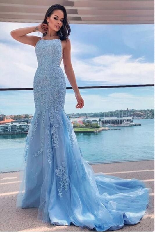 Halter Sky Blue Tulle Lace Appliques Mermaid Prom Dresses Long