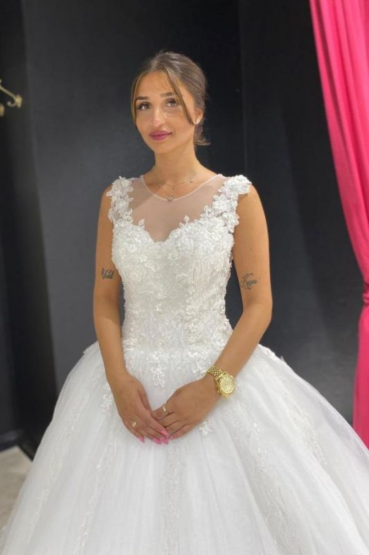 Eye-catching Off The Shoulder Lace Sweetheart White A-lIne Wedding Dresses