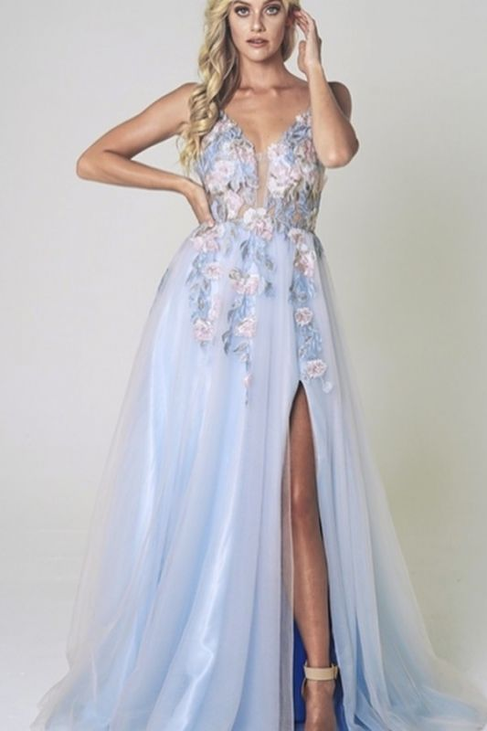 Elegant Flower Split Light Blue Lace Prom Dress Long