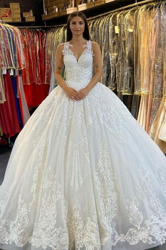 Gorgeous Sleeveless White Tulle Lace Ruffles Ball Gown Wedding Dresses