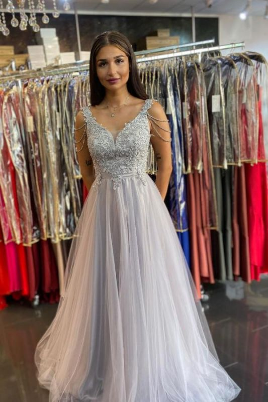 Women Sleeveless Silver Lace  A-Line Prom Dresses Long