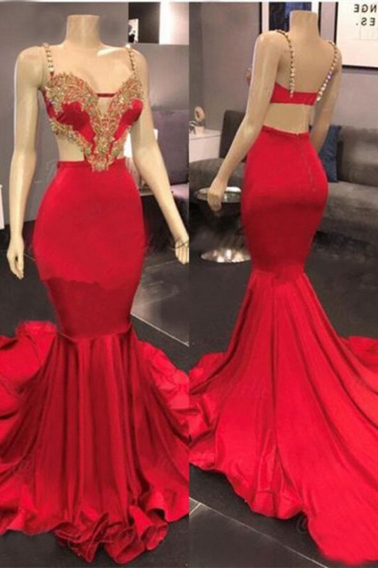 Sexy Red Mermaid Long Prom Dress With Lace Appliques