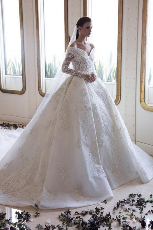 Graceful V Neck White Satin Long Sleeves Wedding Dresses With Lace Appliques