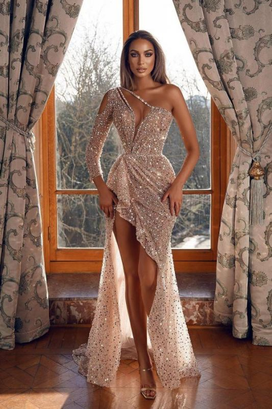 Glittery One Shoulder Tulle Sequins Hilo Mermaid Prom Dresses
