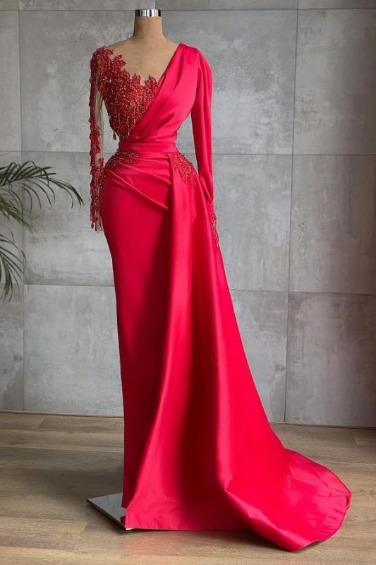 Chic Satin Long Sleeves Ruby Lace Appliques Ruffles Mermaid Prom Dresses