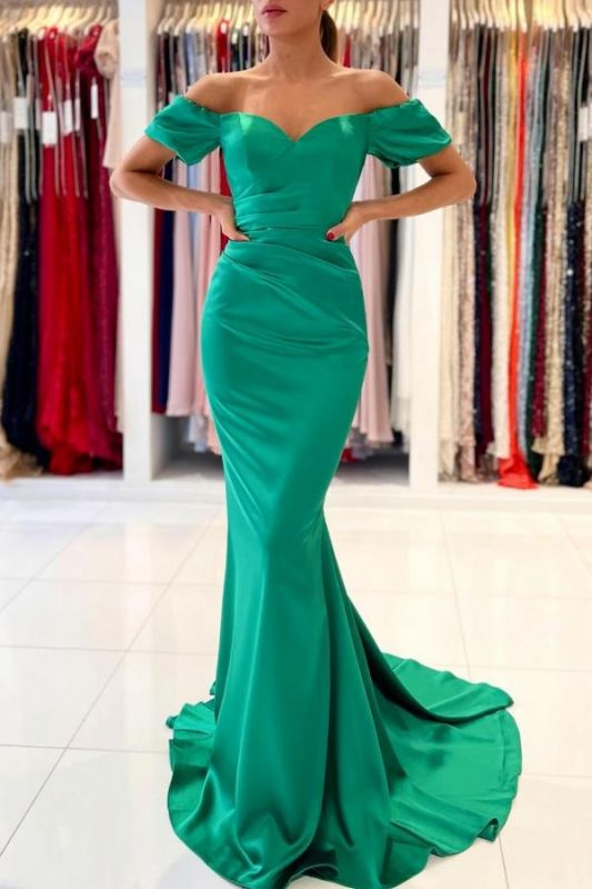 Gorgeous Off The Shoulder Green Lace Ruffles Mermaid Prom Dresses