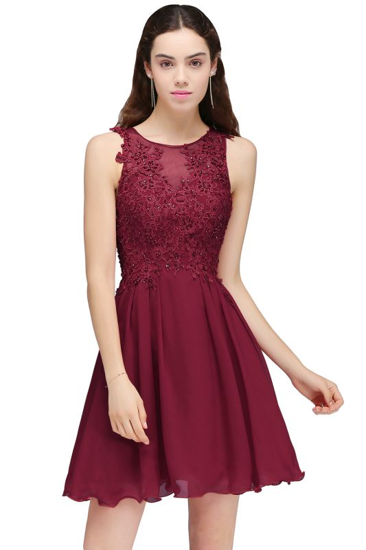 Burgundy A-line Homecoming Dress with Lace Appliques On Sale