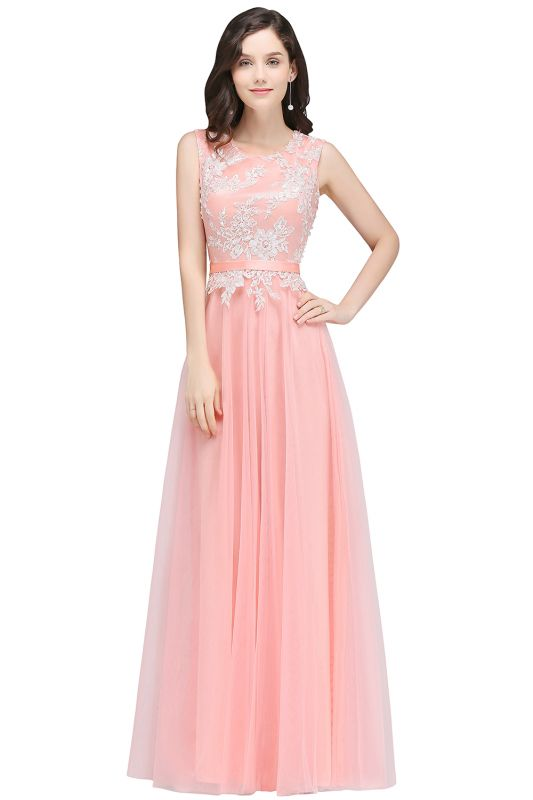 Pink A-line Prom Dress with Lace Appliques On Sale
