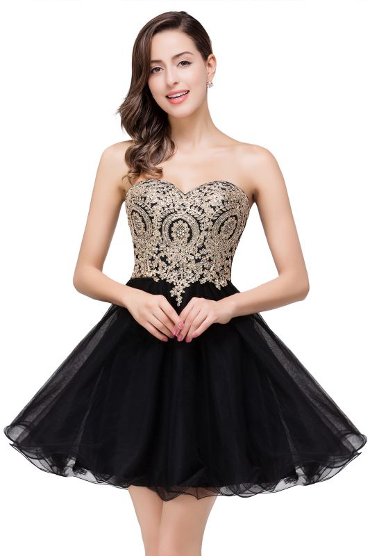 A Line Lace Appliques Sweetheart Short Prom Dress On Sale