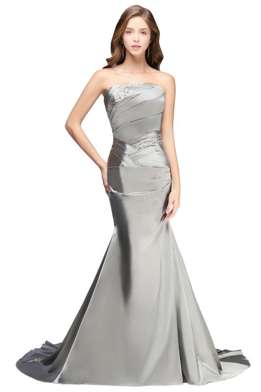 Silver Mermaid 2020 Sexy Long Evening Dresses with Sparkly Sequins Long Train Cheap Bridesmaid Dresses LFC036