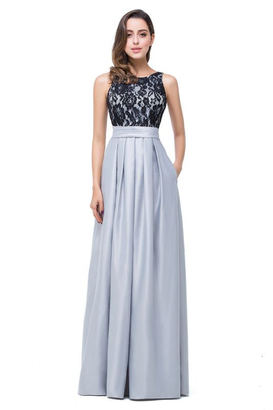 Simple A-line Crew Chiffon Open Back Lace Bridesmaid Dress On Sale