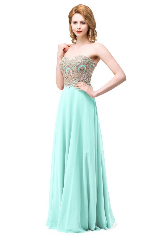 Women's Strapless Embroidery Beaded Prom Formal Dress On Sale
