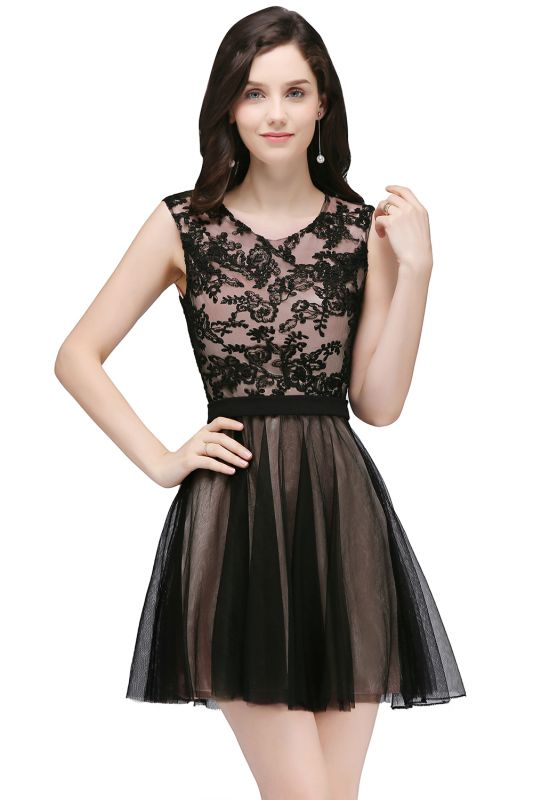 Short Lace Appliques Tulle Sleeveless Prom Dress On Sale
