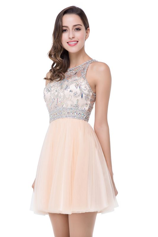 Simple Crew Beading Sleeveless Tulle Short Prom Dress On Sale