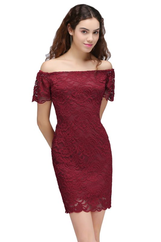 Burgundy Lace Sheath Homecoming Dress Short Sleeves Cocktail Dress On Sale