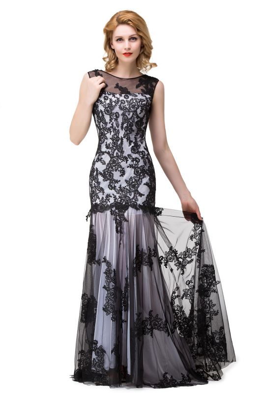 Scoop Neck Mermaid Black lace Applique Evening Prom Dress On Sale