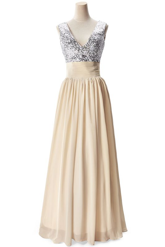 A-line V-neck Chiffon Party Dress With Sequined On Sale