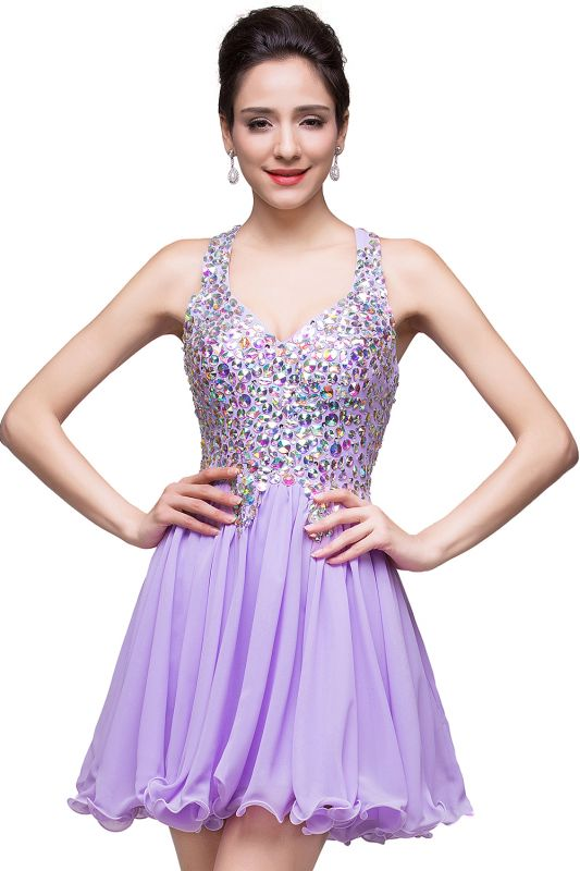 Chic Crisscross-straps Crystal Beads Ruffle Chiffon Sweetheart Short Prom Dress On Sale