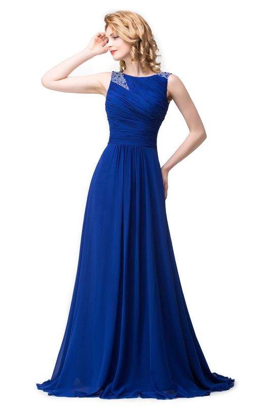 Chiffon A-line Sexy Sparkly Crystal Long Prom Evening Dress On Sale