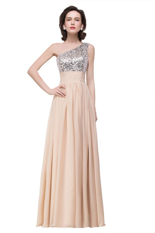 A-line Floor-length Chiffon Evening Dress with Sequined On Sale