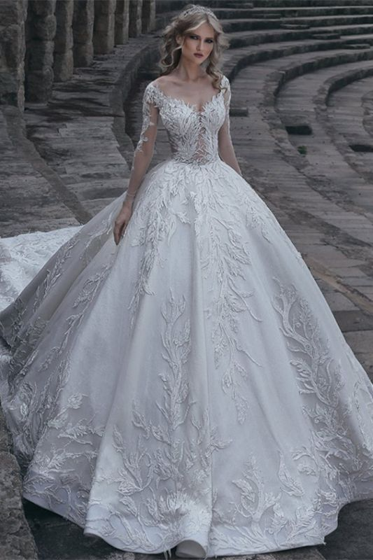 Elegant Long Sleeves Ball Wedding Dresses | 2020 Lace Sexy Bridal Gowns