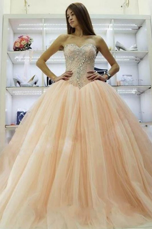 Pretty Sweetheart Princess Ball Gowns Crystals Beading 2020 Wedding Dresses