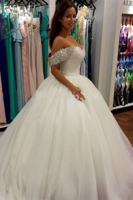 2020 Off Shoulder Ball Gown Wedding Dress Sweeheart Crystals Wedding Gowns