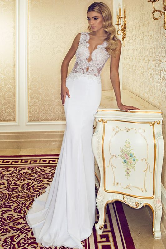 V-Neck Lace Mermaid Wedding Dresses 2020 Chiffon Beadings Sleeveless Sweep Train Bridal Gowns