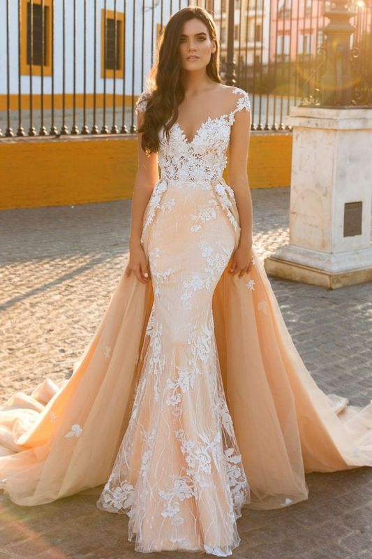 Modern Tulle Overskirt Court Train Mermaid Lace Champagne Wedding Dresses for Bride Online