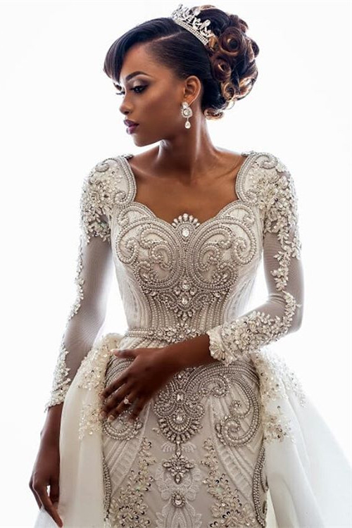 Beads Crystals Long Sleeve Wedding Dresses | Luxury Overskirt Cathedral Train Cheap Bridal Gowns
