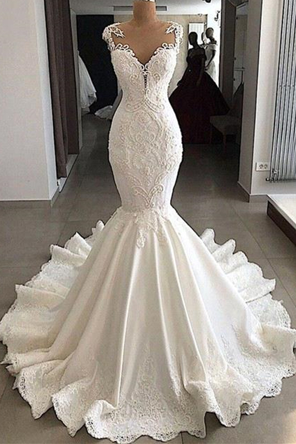 2020 Sexy Mermaid Wedding Dress   Sleeveless Sheer Tulle Appliques Bridal Gowns