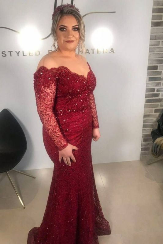Off The Shoulder Ruby Lace Beading Mermaid Prom Dresses