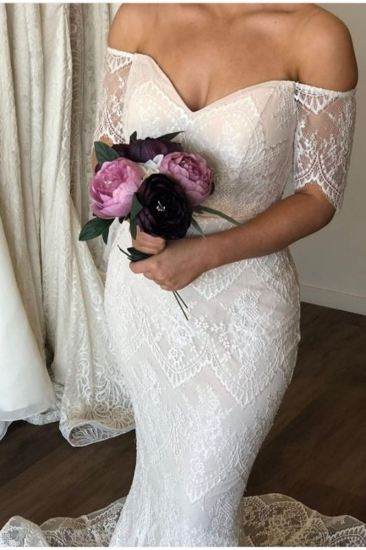 Graceful Sweetheart Short Sleeves Wedding Dresses Off The Shoulder Lace Mermaid Bridal Gowns