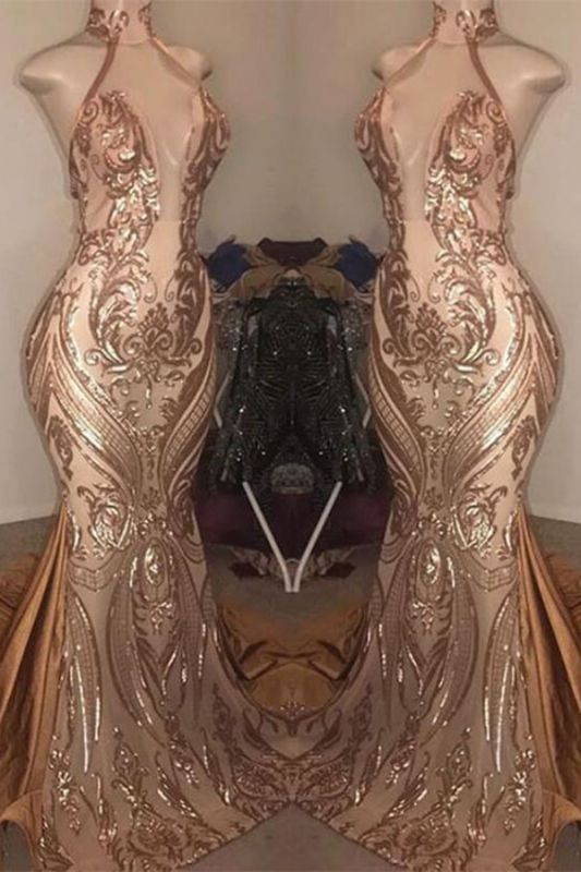Sexy High-Neck Sequins Mermaid Prom Dress Long Evening Gowns Online