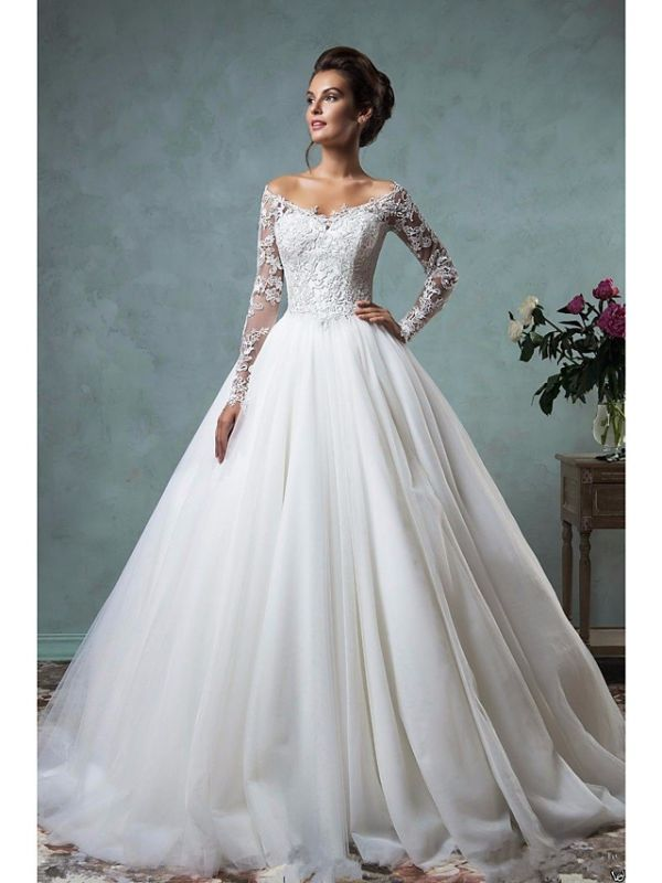 A-Line Wedding Dresses Off Shoulder Lace Tulle Long Sleeve Bridal Gowns Formal See-Through Court Train
