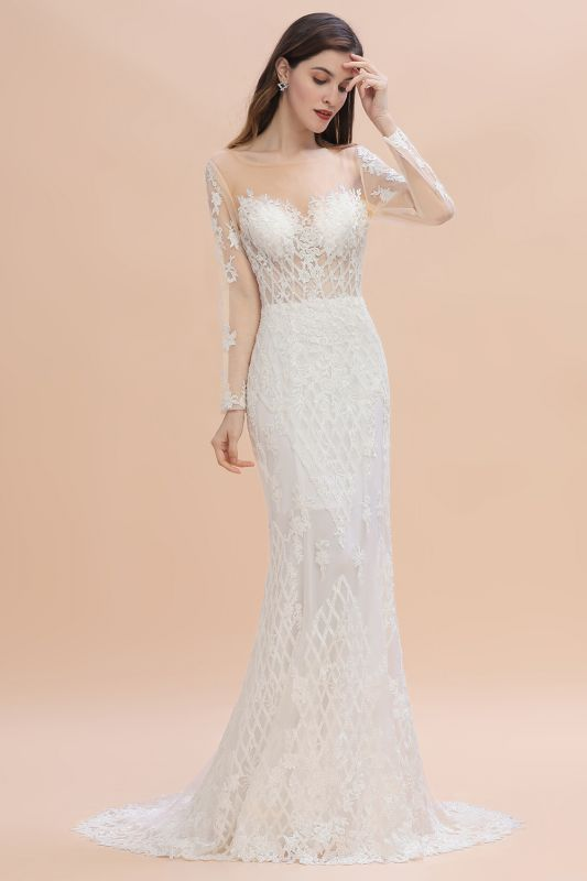 Gorgeous Jewel Tulle Lace Wedding Dress   Long Sleeves Appliques Mermaid Bridal Gowns