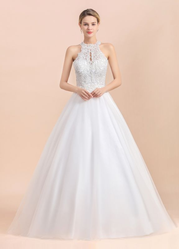 Exquisite High-Neck Lace Wedding Dress | Appliques Sequins Sleeveless Bridal Gowns