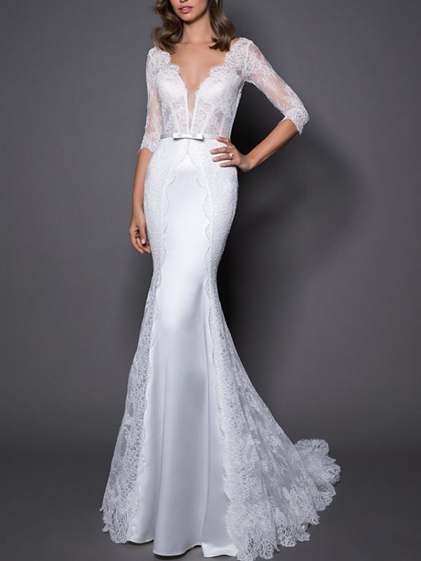 Mermaid Wedding Dress V-Neck Lace Satin 3/4 Length Sleeves Plus Size Bridal Gowns with Sweep Train
