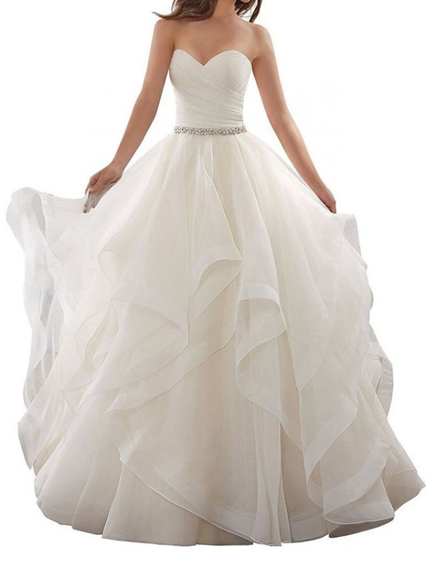 Plus Size A-Line Wedding Dresses Sweetheart Organza Strapless Bridal Gowns with Chapel Train