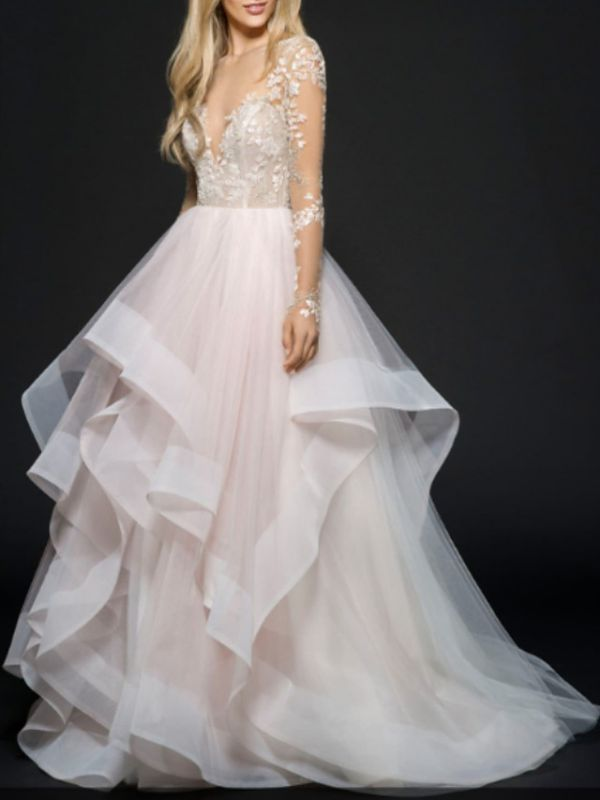 A-Line Wedding Dress V-Neck Lace Tulle Long Sleeve Bridal Gowns On Sale