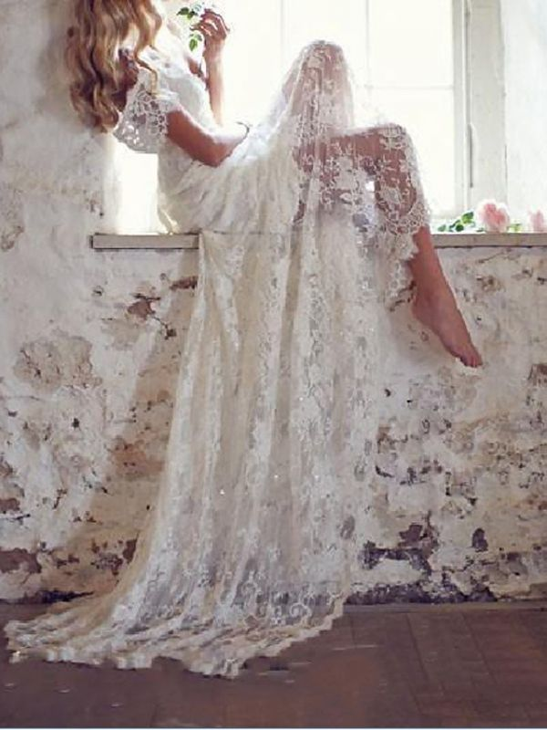 Country Mermaid Wedding Dress V-Neck Lace Short Sleeve Plus Size Bridal Gowns Court Train