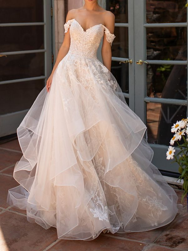 Off The Shoulder Tulle Appliques Ruffles Wedding Dresses Long