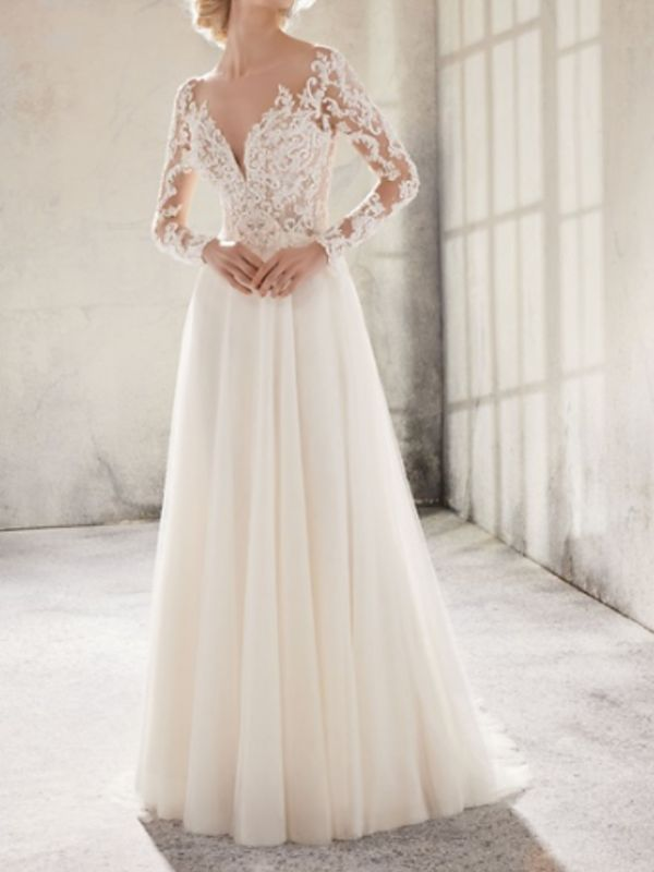 Country A-Line Wedding Dress Jewel Lace Tulle Long Sleeve Plus Size Bridal Gowns Sweep Train